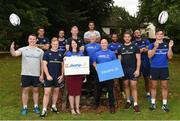 22 August 2016; Gerry O'Brien, front row fourth from left, Head of Fundraising and Business Development for Aware with Sandra Hogan, front row third form left, and Drew Flood, centre, also representing Aware, join Leinster Rugby players, from left, Peter Dooley, Noel Reid, James Tracy, Jamison Gibson Park, head coach Leo Cullen, Adam Byrne, Isa Nacewa, Dominic Ryan, Hayden Triggs, and Tom Daly, in attendance at Leinster Rugby HQ, UCD for the announcement of Aware and Debra Ireland as the Leinster charity partners for the next two seasons. Aware is a national organisation working since 1985 to provide support, education and information around depression and bipolar disorder. DEBRA Ireland was established to provide support services to patients and families living with the debilitating skin condition epidermolysis bullosa. The partnership will kick off on the 10th September with a trip for 28 lucky recipients – 14 from each charity - to the first away game in the Guinness PRO12 in Glasgow courtesy of Joe Walsh Tours, official travel partner of Leinster Rugby. For further information please check out leinsterrugby.ie/charitypartners and www.aware.ie and www.debraireland.org Photo by Cody Glenn/Sportsfile