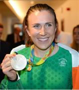 23 August 2016; Annalise Murphy of Ireland, who won a silver medal in the Women's Laser Radial Medal race at the 2016 Rio Summer Olympic Games in Rio de Janeiro, after a press conference on her return at Dublin Airport, Dublin. Photo by Seb Daly/Sportsfile