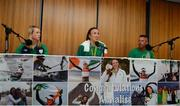 23 August 2016; Annalise Murphy, centre, of Ireland, who won a silver medal in the Women's Laser Radial Medal race at the 2016 Rio Summer Olympic Games in Rio de Janeiro, with sports psychologist Dr Kate Kirby, left, and coach Rory Fitzpatrick, right, during a press conference on her return at Dublin Airport, Dublin. Photo by Seb Daly/Sportsfile