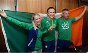 23 August 2016; Annalise Murphy, centre, of Ireland, who won a silver medal in the Women's Laser Radial Medal race at the 2016 Rio Summer Olympic Games in Rio de Janeiro, with Dr Kate Kirby, left, sport psychologist, and coach Rory Fitzpatrick, right, during a press conference on her return at Dublin Airport, Dublin. Photo by Seb Daly/Sportsfile