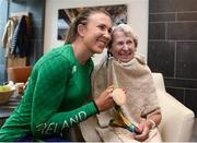 23 August 2016; Annalise Murphy, left, of Ireland, who won a silver medal in the Women's Laser Radial Medal race at the 2016 Rio Summer Olympic Games in Rio de Janeiro, with grandmother Betty Murphy during a press conference on her return at Dublin Airport, Dublin. Photo by Seb Daly/Sportsfile
