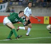 5 June 2002; Robbie Keane, Republic of Ireland, scores against Germany. FIFA World Cup Finals, Group E, Republic of Ireland v Germany, Ibaraki Stadium, Ibaraki, Japan. Picture credit: David Maher / SPORTSFILE