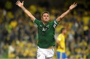 6 September 2013; Robbie Keane, Republic of Ireland, celebrates after scoring his side's first goal. 2014 FIFA World Cup Qualifier, Group C, Republic of Ireland v Sweden, Aviva Stadium, Lansdowne Road, Dublin. Picture credit: David Maher / SPORTSFILE
