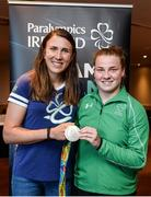 25 August 2016; Pictured at the Official Farewell event for members of the Irish Paralympic Team are discus thrower Noelle Lenihan, right, and 2016 Olympic Games silver medallist Annalise Murphy, at the Clayton Hotel in Dublin Airport, Dublin. Photo by Seb Daly/Sportsfile