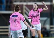 25 August 2016; Lauren Dwyer of Wexford Youths WFC celebrates with team-mate Jessica Gleeson, left, after scoring her side's goal during the UEFA Women's Champions League Qualifying Group game between Wexford Youths WFC and Gintra at Ferrycarrig Park in Wexford. Photo by Matt Browne/Sportsfile