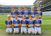 21 August 2016; Gerard Mallie, St Clates Abbey, Newry, Down, representing Tipperary, Daragh McCabe, St Joseph's Boys NS, Clondalkin, Dublin, representing Tipperary, Conlan O'Kane, St Brigids, Knockloughrim, Derry, representing Tipperary, Richard Drain, Anahorish Primary School, Toomebridge, Derry, representing Tipperary, Killian Carragher, Annyalla NS, Castleblayney, Monaghan, representing Tipperary, front row, Ruaidhrí O'Keeffe, St Mary's PS, Newtownbutler, Fermanagh, representing Tipperary John Ryan, Scoil Eóin Bosco, Navan Road, Dublin, representing Tipperary, Ryan Donnelly, St Patrick's PS Roan, Eglish, Dungannon, Tyrone, representing Tipperary, Gerard Finnegan, Lisdoonan NS, Carrickmacross, Monaghan, representing Tipperary,  during the during the INTO Cumann na mBunscol GAA Respect Exhibition Go GamesGAA Football All-Ireland Senior Championship Semi-Final game between Tipperary and Mayo at Croke Park in Dublin. Photo by Eóin Noonan/Sportsfile
