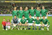 17 November 2010;  The Republic of Ireland team, back row, left to right, Keith Fahey, Glenn Whelan, Liam Lawrence, Darren O'Dea, Stephen Kelly and John O'Shea. Front row, left to right, Shay Given, Shane Long, Greg Cunningham, Damien Duff and Kevin Doyle. International Friendly, Republic of Ireland v Norway, Aviva Stadium, Lansdowne Road, Dublin. Picture credit: David Maher / SPORTSFILE