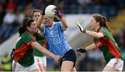 27 August 2016; Lyndsey Davey of Dublin in action against Rachel Kearns, left, and Sarah Tierney of Mayo during the TG4 Ladies Football All-Ireland Senior Championship Semi-Final game between Dublin and Mayo at Kingspan Breffni Park in Cavan. Photo by Piaras Ó Mídheach/Sportsfile