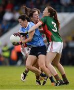 27 August 2016; Lyndsey Davey of Dublin in action against Rachel Kearns and Sarah Tierney, right, of Mayo during the TG4 Ladies Football All-Ireland Senior Championship Semi-Final game between Dublin and Mayo at Kingspan Breffni Park in Cavan. Photo by Piaras Ó Mídheach/Sportsfile