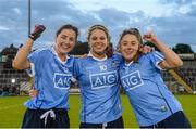 27 August 2016; Dublin players, from left, Lyndsey Davey, Noelle Healy and Siobhán Woods celebrate after the TG4 Ladies Football All-Ireland Senior Championship Semi-Final game between Dublin and Mayo at Kingspan Breffni Park in Cavan. Photo by Piaras Ó Mídheach/Sportsfile