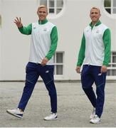 28 August 2016; Members of Team Ireland's hockey team, Conor and David Harte, arrive ahead of a special reception, honouring members of Team Ireland who competed at the 2016 Rio Olympics, hosted by President Michael D. Higgins and his wife Sabina Higgins in Áras an Uachtaráin, Phoenix Park, Dublin. Photo by Seb Daly/Sportsfile