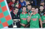21 November 2010; St Brigid's captain Niall Grehan, right, makes a speech after recieving the cup. AIB GAA Football Connacht Club Senior Championship Final, Killererin v St Brigid's, Tuam Stadium, Tuam, Co. Galway. Picture credit: Ray Ryan / SPORTSFILE