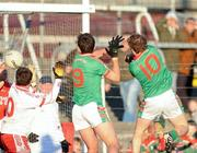21 November 2010; Cathal McHugh, right, St Brigid's, scores a last second goal in normal time to level the game. AIB GAA Football Connacht Club Senior Championship Final, Killererin v St Brigid's, Tuam Stadium, Tuam, Co. Galway. Picture credit: Ray Ryan / SPORTSFILE