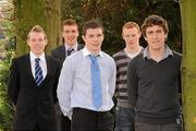 19 November 2010; Gaelic Footballers, Michael Durcan, Dublin, Luke Keaney, Donegal, Cormac Boyle, Westmeath, Ciaran McConnell, Meath, and Darragh Maquire, Meath, at the announcement of the first year UCD Sports Scholarship recipients for 2010/11 in Belfield today. O'Reilly Hall, UCD, Belfield, Dublin. Picture credit: Alan Place/ SPORTSFILE