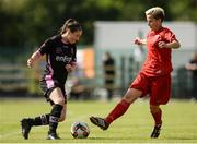28 August 2016; Aisling Frawley of Wexford Youths WFC in action against Laura-Maria Mereu?a of ARF Criuleni during the UEFA Women's Champions League Qualifying Group game between ARF Criuleni and Wexford Youths WFC at Ferrycarrig Park in Wexford. Photo by Sam Barnes/Sportsfile