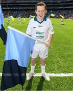 28 August 2016; eir Flagbearer Matthew Fitzpatrick, age 12, from Ballymun, Dublin, at the GAA Football All-Ireland Senior Championship Semi-Final game between Dublin and Kerry at Croke Park in Dublin. Photo by Stephen McCarthy/Sportsfile
