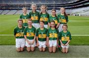28 August 2016; The Kerry team, back row, from left, Róisín Montgomery, Mullagh NS, Mullagh, Ennis, Clare, Aoife Neville, Monaleen NS, Monaleen, Castletroy, Limerick, Emily Coffey, Ovens NS, Ovens, Cork, Ailish Breen, Scoil Ailbhe, Caherelly, Limerick, and Aisling Ní Ainiféin, Gaelscoil Mhic Easmainn, Tralee, Kerry. Front row, from left, Meabh Coleman Horgan, Cullina NS, Beaufort, Kerry, Niamh Laffan, Portlaw NS, Portlaw, Waterford, Aoife Mulkern, Lisnagry, NS, Lisnagry, Limerick, Tia Jewitt, Scoil Mhuire na Trocaire, Buttevant, Cork, and Cara King, Holy Family National School, Tubbercurry, Sligo, prior to the INTO Cumann na mBunscol GAA Respect Exhibition Go Games at the GAA Football All-Ireland Senior Championship Semi-Final game between Dublin and Kerry at Croke Park in Dublin. Photo by Piaras Ó Mídheach/Sportsfile