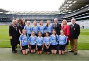 28 August 2016; The Dublin team, back row, from left, Ava Cornally, Tubber NS, Moate, Westmeath, Becky Watkins, Gortnamona NS, Bluebell, Tullamore, Offaly, Sinéad O'Connor, Knockanean NS, Ennis, Clare, and Grace Barcoe, St Colman's, Clara, Kilkenny. Front row, from left,  Ellen Flanagan, Annagh NS, Miltown Malbay, Clare, Amy Clifford, St Canices Co Ed, Granges Road, Kilkenny, Alex Bedford, Mount Anville Primary School, Stillorgan, Dublin, Jayne Merren, St Laurence's NS, Kindlestown, Wicklow, Dolores Healy, Scoil Niocláis Naofa, Dunlavin, Wicklow, and Emma Kennedy, St Pius X GNS, Terenure, Dublin, with from left, INTO president Rosena Jordan, President of Cumann na mBunscol Liam McGee, coach Lauren Delaney, Uachtarán Chumann Lúthchleas Gaeil Aogán Ó Fearghail, LGFA President Marie Hickey and Mini-Sevens Coordinator Gerry O'Meara, prior to the INTO Cumann na mBunscol GAA Respect Exhibition Go Games at the GAA Football All-Ireland Senior Championship Semi-Final game between Dublin and Kerry at Croke Park in Dublin. Photo by Piaras Ó Mídheach/Sportsfile