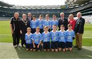 28 August 2016; The Dublin team, back row, from left, Oisín Doyle, St Joseph's NS, Hacketstown, Carlow, Shamey O'Hagan, Monamolin NS Gorey, Wexford, Jack Hanlon, St Lorcan's BNS, Palmerstown, Dublin, and Adam O'Neill, St Fiachra's Senior School, Beamount, Dublin. Front row, from left, Alex Kelliher, Ballon NS, Ballon, Carlow, Liam Osbourne, St Finnian's NS, Dunleer, Louth, Luke Whitney, St Oliver Plunkett BNS, Moate, Westmeath,  and Conor Foley, Scoil Mhuire Horeswood, New Ross, Wexford, Eoghan Curran, St Oliver Plunkett BNS, Moate, Westmeath, and Daniel Reilly, St Mary's Parish Primary School, Drogheda, Louth, with from left, coach Pat Monaghan, INTO president Rosena Jordan, President of Cumann na mBunscol Liam McGee, Uachtarán Chumann Lúthchleas Gaeil Aogán Ó Fearghail, LGFA President Marie Hickey and Mini-Sevens Coordinator Gerry O'Meara, prior to the INTO Cumann na mBunscol GAA Respect Exhibition Go Games at the GAA Football All-Ireland Senior Championship Semi-Final game between Dublin and Kerry at Croke Park in Dublin. Photo by Piaras Ó Mídheach/Sportsfile