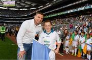 28 August 2016; eir GAA ambassador Tomás Ó Sé with eir Flagbearer Matthew Fitzpatrick, age 12, from Ballymun, Dublin, at the GAA Football All-Ireland Senior Championship Semi-Final game between Dublin and Kerry at Croke Park in Dublin. Photo by Stephen McCarthy/Sportsfile