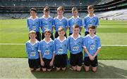 28 August 2016; The Dublin team, back row, from left, Oisín Doyle, St Joseph's NS, Hacketstown, Carlow, Shamey O'Hagan, Monamolin NS Gorey, Wexford, Jack Hanlon, St Lorcan's BNS, Palmerstown, Dublin, Adam O'Neill, St Fiachra's Senior School, Beamount, Dublin, and Daniel Reilly, St Mary's Parish Primary School, Drogheda, Louth. Front row, from left, Alex Kelliher, Ballon NS, Ballon, Carlow, Liam Osbourne, St Finnian's NS, Dunleer, Louth, Luke Whitney, St Oliver Plunkett BNS, Moate, Westmeath, Conor Foley, Scoil Mhuire Horeswood, New Ross, Wexford, and Eoghan Curran, St Oliver Plunkett BNS, Moate, Westmeath, representing Dublin, prior to the INTO Cumann na mBunscol GAA Respect Exhibition Go Games at the GAA Football All-Ireland Senior Championship Semi-Final game between Dublin and Kerry at Croke Park in Dublin. Photo by Piaras Ó Mídheach/Sportsfile