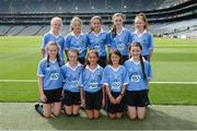 28 August 2016; The Dublin team, back row, from left, Ava Cornally, Tubber NS, Moate, Westmeath, Becky Watkins, Gortnamona NS, Bluebell, Tullamore, Offaly, Sinéad O'Connor, Knockanean NS, Ennis, Clare, Grace Barcoe, St Colman's, Clara, Kilkenny, and Emma Kennedy, St Pius X GNS, Terenure, Dublin. Front row, from left, Ellen Flanagan, Annagh NS, Miltown Malbay, Clare, Amy Clifford, St Canices Co Ed, Granges Road, Kilkenny, Alex Bedford, Mount Anville Primary School, Stillorgan, Dublin, Jayne Merren, St Laurence's NS, Kindlestown, Wicklow, and Dolores Healy, Scoil Niocláis Naofa, Dunlavin, Wicklow, prior to the INTO Cumann na mBunscol GAA Respect Exhibition Go Games at the GAA Football All-Ireland Senior Championship Semi-Final game between Dublin and Kerry at Croke Park in Dublin. Photo by Piaras Ó Mídheach/Sportsfile
