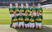 28 August 2016; The Kerry team, back row, from left, Tomás Corbett, St Paul's, Ratoath, Meath, Jack Meagher, St Mary's, Ashbourne, Meath, Fionn Hallinan, Ballymacarbry NS, Ballymacarbry, Waterford, representing Kerry, Darragh O'Connell, Ovens NS, Ovens, Cork, Ciarán Hodanu, Ferrybank BNS, Ferrybank, Waterford, and Daniel Ryan, Borrisoleigh, Thurles, Tipperary. Front row, Patrick Magee, St Colmban's, Belcoo, Fermanagh,Séamus O'Mahony, Killavullen NS, Killavullen, Cork, Conor Sweeney, St John's NS, Ballisodare, Sligo, Matthew Carey, Scoil Mhuire NS, Newtownforbes, Longford, and TJ Carroll, Loughmore, Templemore, Tipperary, prior to the INTO Cumann na mBunscol GAA Respect Exhibition Go Games at the GAA Football All-Ireland Senior Championship Semi-Final game between Dublin and Kerry at Croke Park in Dublin. Photo by Piaras Ó Mídheach/Sportsfile