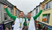 29 August 2016; Paul O'Donovan and Gary, right, as they arrive home on an open top bus through Skibbereen village after their success in the Rio 2016 Olympic Games. Photo by Brendan Moran/Sportsfile