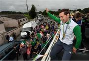 29 August 2016; Paul O'Donovan and his brother Gary arrive home on an open top bus through Skibbereen village after their success in the Rio 2016 Olympic Games. Photo by Brendan Moran/Sportsfile