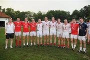 27 November 2010; Manager Conor Counihan with Cork players Alan Quirke, Aidan Walsh, Paudie Kissane, Daniel Goulding, Pearse O'Neill, Nicholas Murphy, Michael Shields, John Miskella, Paul Kerrigan, and Donnacha O'Connor who played on the  2009 and 2010 All-Stars. GAA Football All-Stars Tour 2009, sponsored by Vodafone, 2009 All-Stars v 2010 All-Stars, Royal Selangor Club, Bukit Kiara, Kuala Lumpur, Malaysia. Picture credit: Ray McManus / SPORTSFILE
