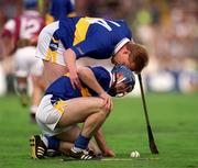 9 September 2001; Tipperary's Declan Ryan has an encouraging word with team-mate Eoin Kelly.  Tipperary v Galway, All-Ireland Senior Hurling Championship Final, Croke Park, Dublin. Picture credit; Brendan Moran / SPORTSFILE