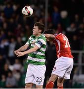 2 September 2016; Sean Heaney of Shamrock Rovers  in action against Billy Dennehy of St Patricks Athletic during the SSE Airtricity League Premier Division match between Shamrock Rovers and St Patrick's Athletic in Tallaght Stadium in Tallaght, Dublin. Photo by Sam Barnes/Sportsfile