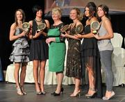 6 November 2010; President of the Camogie Association Joan O' Flynn with Antrim Soaring Stars award recipients, from left, Jane Adams, Michaela Convery, Kerrie O'Neill, Shannon Graham and Rhona Torney at the 2010 Camogie All-Stars in association with O'Neills. Citywest Hotel, Saggart, Co. Dublin. Picture credit Barry Cregg / SPORTSFILE