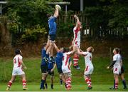 3 September 2016; Jack Dunne of Leinster taking the ball in the lineout against James Nelson of Ulster during the U19 Interprovincial Series Round 1 match between Ulster and Leinster at RBAI in Belfast. Photo by Oliver McVeigh/Sportsfile