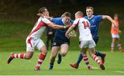 3 September 2016; Sean O'Brien of Leinster is tackled by James Hume and Mark Keane of Ulster during the U19 Interprovincial Series Round 1 match between Ulster and Leinster at RBAI in Belfast. Photo by Oliver McVeigh/Sportsfile