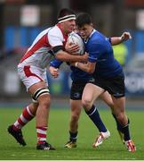 3 September 2016; David Ryan of Leinster is tackled by Oisin Kiernan of Ulster during the U18 Schools Interprovincial Series Round 2 match between Leinster and Ulster at Donnybrook Stadium in Donnybrook, Dublin. Photo by Stephen McCarthy/Sportsfile