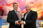 15 December 2010; Tipperary manager Liam Sheedy is awarded the Philips Sports Manager of the Year 2010 by Cel O'Reilly, Managing Director of Philips Ireland. The Shelbourne Hotel Dublin, St Stephen's Green, Dublin. Picture credit: Stephen McCarthy / SPORTSFILE