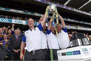4 September 2016; Tipperary manager Michael Ryan, left, lifts the Liam MacCarthy with his selectors, Declan Fanning, Conor Stakelum and John Madden, following the GAA Hurling All-Ireland Senior Championship Final match between Kilkenny and Tipperary at Croke Park in Dublin. Photo by Ray McManus/Sportsfile