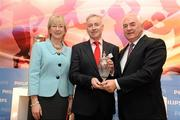 15 December 2010; Lenny Harbinson, Manager of the St Galls Gaelic Football Team, is awarded his March 2010 Philips Sports Manager of the Month award by Cel O'Reilly, Managing Director of Philips Ireland, and Mary Hanafin TD, Minister for Tourism, Culture and Sport. The Shelbourne Hotel Dublin, St Stephen's Green, Dublin. Picture credit: Stephen McCarthy / SPORTSFILE