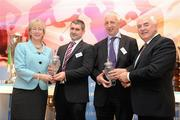 15 December 2010; Liam Sheedy, Tipperary Hurling Manager, second from left, and Conor Counihan, Cork Football Manager, second from right, are awarded their joint September Philips Sports Manager of the Month awards by Cel O'Reilly, Managing Director of Philips Ireland, and Mary Hanafin TD, Minister for Tourism, Culture and Sport. The Shelbourne Hotel Dublin, St Stephen's Green, Dublin. Picture credit: Stephen McCarthy / SPORTSFILE