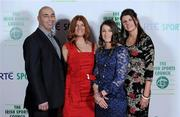 22 December 2010; Boxer Katie Taylor with her family, from left, father Pete, mother Bridget and sister Sarah on arrival at the RTÉ Sports Awards. RTÉ Sports Awards 2010, RTÉ Television Centre, Donnybrook, Dublin. Picture credit: Brendan Moran / SPORTSFILE