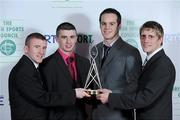 22 December 2010; The Irish boxing team, who were named the RTE team of the Year, after winning medals at the 2010 European Boxing Championships in Moscow, from left, Paddy Barnes, Tyrone McCullagh, Darren O'Neill and Eric Donovan. RTÉ Sports Awards 2010, RTÉ Television Centre, Donnybrook, Dublin. Picture credit: Brendan Moran / SPORTSFILE