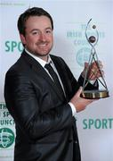 22 December 2010; Golfer Graeme McDowell, with his award, after winning the RTE Sports Person of the Year award at the RTÉ Sports Awards. RTÉ Sports Awards 2010, RTÉ Television Centre, Donnybrook, Dublin. Picture credit: Brendan Moran / SPORTSFILE