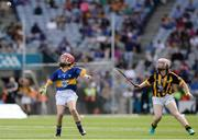 4 September 2016; Lauren Healy, left, Ballinakill NS, Ballinakill, Laois, representing Tipperary, in action against Róisín Maguire, right, Scoil N CaoimhÌn Naofa, Philipstown, Dunleer, Louth, representing Kilkenny, during the INTO Cumann na mBunscol GAA Respect Exhibition Go Games at the GAA Hurling All-Ireland Senior Championship Final match between Kilkenny and Tipperary at Croke Park in Dublin. Photo by Seb Daly/Sportsfile