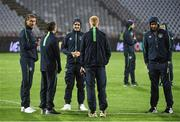 5 September 2016; Ireland players, from left, Jeff Hendrick, Wes Hoolahan, Robbie Brady, Paul McShane and Cyrus Christie on the pitch ahead of the FIFA World Cup Qualifier match between Serbia and Republic of Ireland at the Red Star Stadium in Belgrade, Serbia. Photo by David Maher/Sportsfile