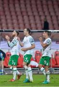 5 September 2016; Richard Keogh, left, John O'Shea, centre, and Jon Walters of Republic of Ireland following the FIFA World Cup Qualifier match between Serbia and Republic of Ireland at the Red Star Stadium in Belgrade, Serbia. Photo by Alex Nicodim/Sportsfile