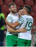 5 September 2016; Daryl Murphy, left, Shane Long, centre, and Jon Walters of Republic of Ireland celebrate the side's second goal during the FIFA World Cup Qualifier match between Serbia and Republic of Ireland at the Red Star Stadium in Belgrade, Serbia. Photo by Alex Nicodim/Sportsfile