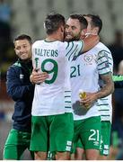 5 September 2016; Daryl Murphy of Republic of Ireland, centre, is congratulated by team mates Wes Hoolahan, left, and Jonathan Walters as the team make their way off the field following the FIFA World Cup Qualifier match between Serbia and Republic of Ireland at the Red Star Stadium in Belgrade, Serbia. Photo by Alex Nicodim/Sportsfile