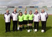 3 September 2016; Referee Garryowen McMahon and his match officials before the TG4 Ladies Football All-Ireland Intermediate Championship Semi-Final match between Clare and Tipperary at the Gaelic Grounds, Limerick. Photo by Diarmuid Greene/Sportsfile