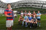 7 September 2016; Clontarf captain Ben Reilly, holding the Ulster Bank League trophy, with back row, from left, Niall Kenneally, Cork Constitution, Kyle McCoy, Terenure College, Bryan Mallon, Dublin University, Ian Prendiville, Lansdowne, Jamie Glynn, UCD; front row, from left, Sean Duggan, Young Munster, Michael O'Donnell, Garryowen, Brian McGovern, St. Mary's, and John Kennedy, Old Belvedere, during the launch of the 2016/17 Ulster Bank League at the Aviva Stadium in Lansdowne Road, Dublin. Photo by Matt Browne/Sportsfile